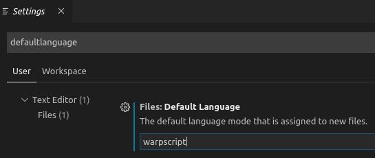 Define WarpScript as default language on VSCode