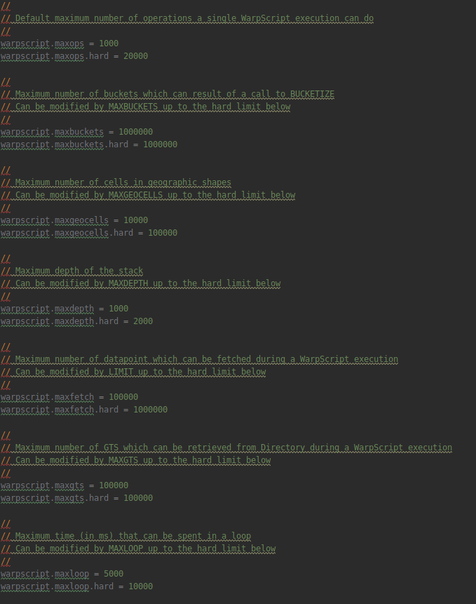 Sample of the default limits configuration file